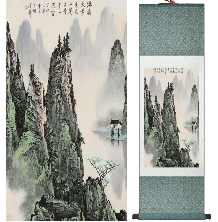 Mountain and River painting Chinese scroll painting landscape art painting home decoration picture 041701