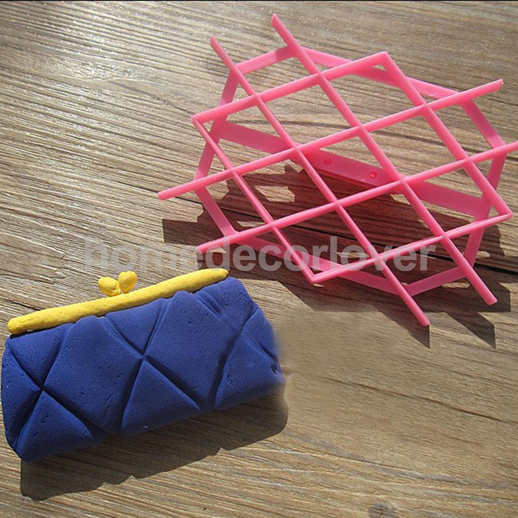 Fondant Cake raft Equipment Tool Rhombus Embosser Cutter Icing Lattice Mold