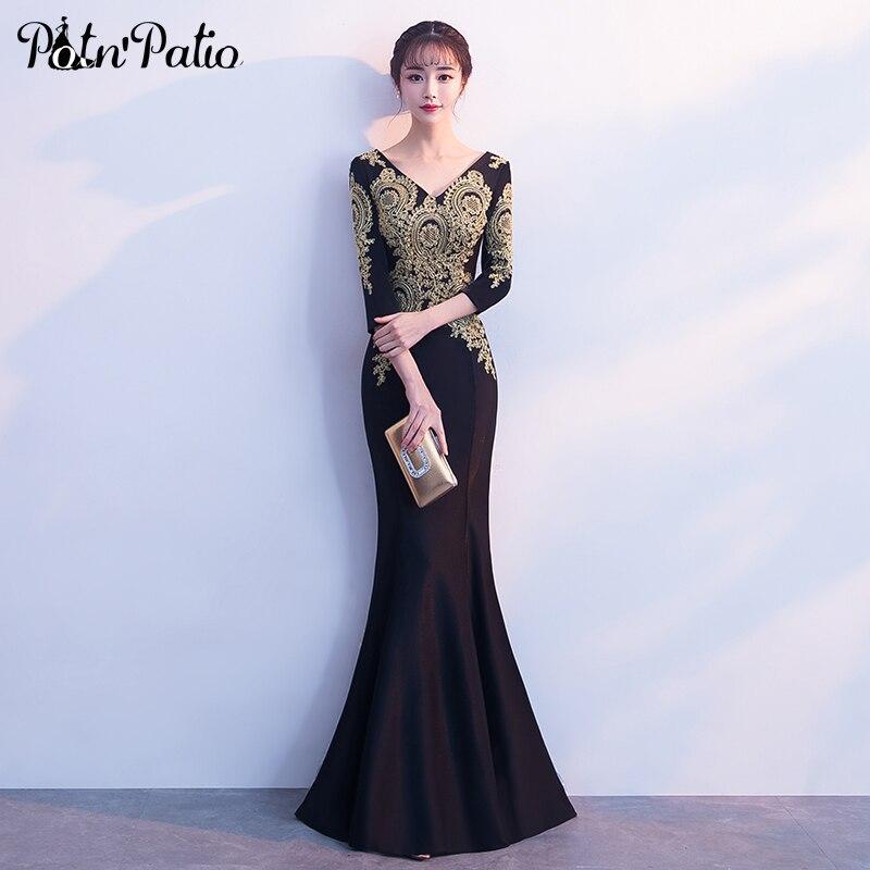 Elegant Long Sleeves Prom Dresses 2018 V Neck Floor Length Appliques