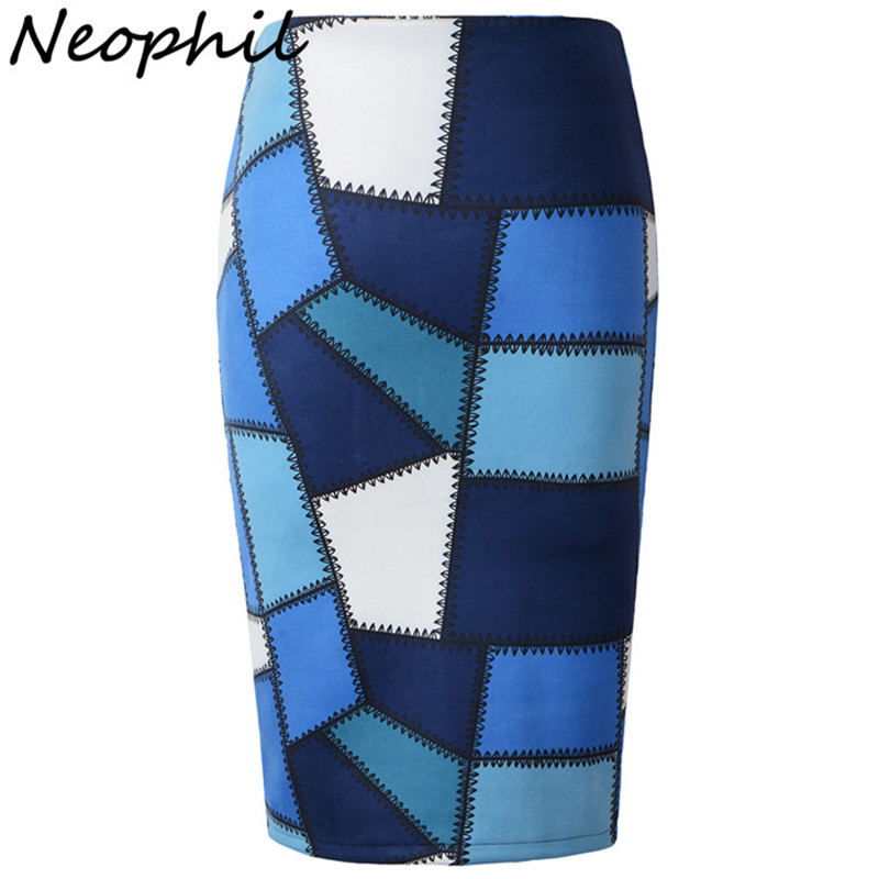 Neophil 2017 Suede Faux Leather Asymmetrical Plaid Pattern Print High Waist Women Knee Length Sexy Slim Pencil Skirts Saia S0910