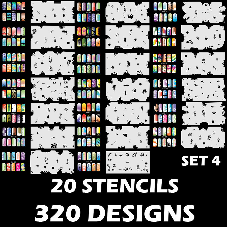 320 DESIGNS Airbrush Nail Art STENCIL Template Kit Paint