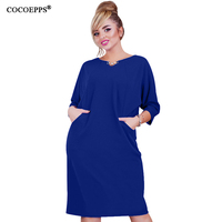 COCOEPPS New Autumn Big Size Women Dress 2017 Solid Plus Size O-neck Sundress Large Size Female Clothing Elegant Vestidos 6XL
