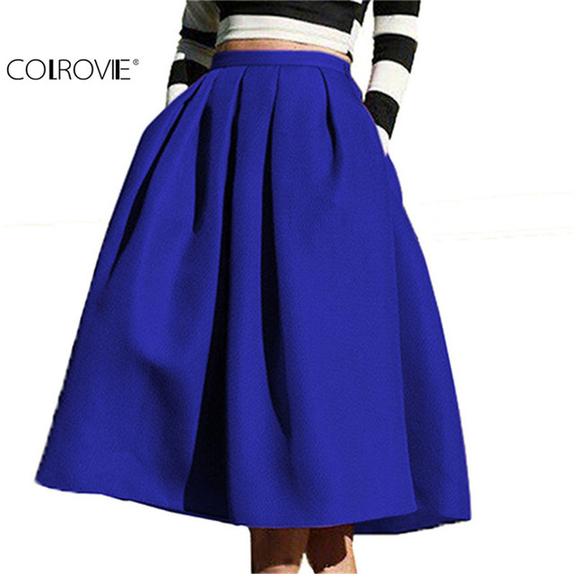 COLROVIE Fashion Faldas Women's European Style Famous High Waist Pockets Flare Pleated Spring Latest Vintage A Line Midi Skirt