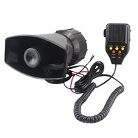 12V 3 Sounds Siren Fire Alarm Max Car Van Truck Mic PA Speaker System With Recording