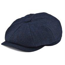 Botvla lana Tweed Newsboy Cap Herringbone hombres mujeres Gatsby Retro sombrero conductor tapa plana negro marrón verde, azul marino 005