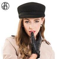FS Для женщин осень-зима Шапки черный корейский литературный Британский 100% шерсть Шляпы военного образца для женщин Женские Темно-без каблу...