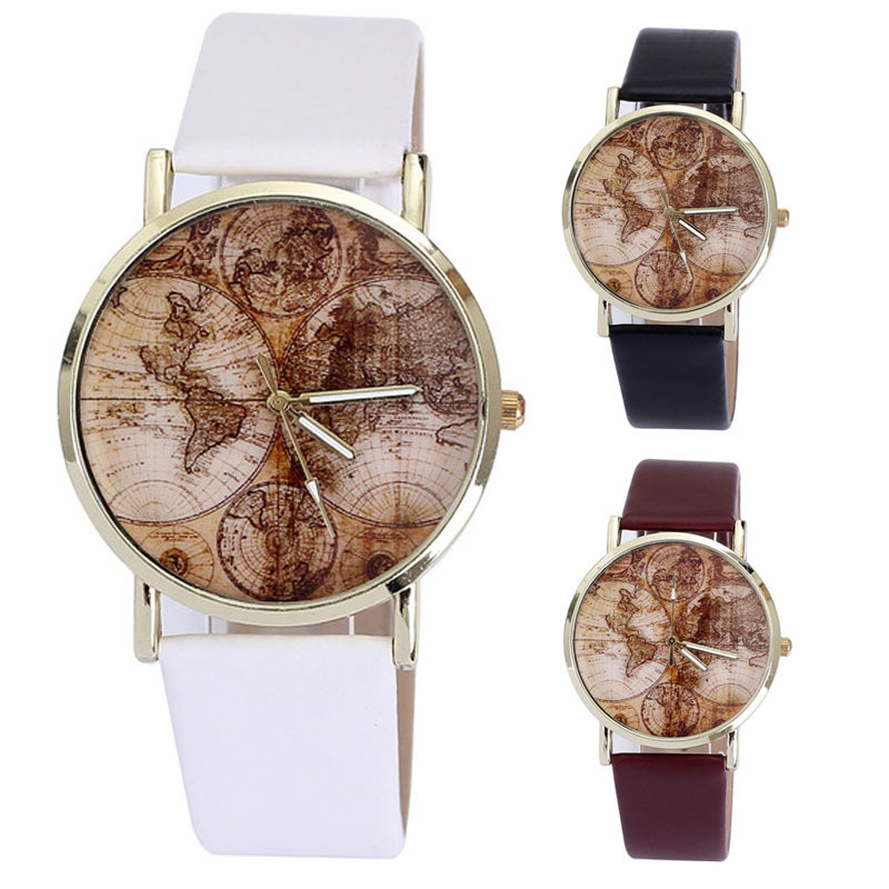 Alipower fashion womens world map leather band analog quartz wrist alipower fashion womens world map leather band analog quartz wrist watch watches in womens watches from watches on aliexpress alibaba group gumiabroncs Images
