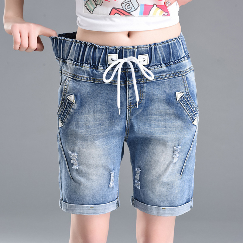 Women's denim shorts medium length curl legging shorts lady with ...