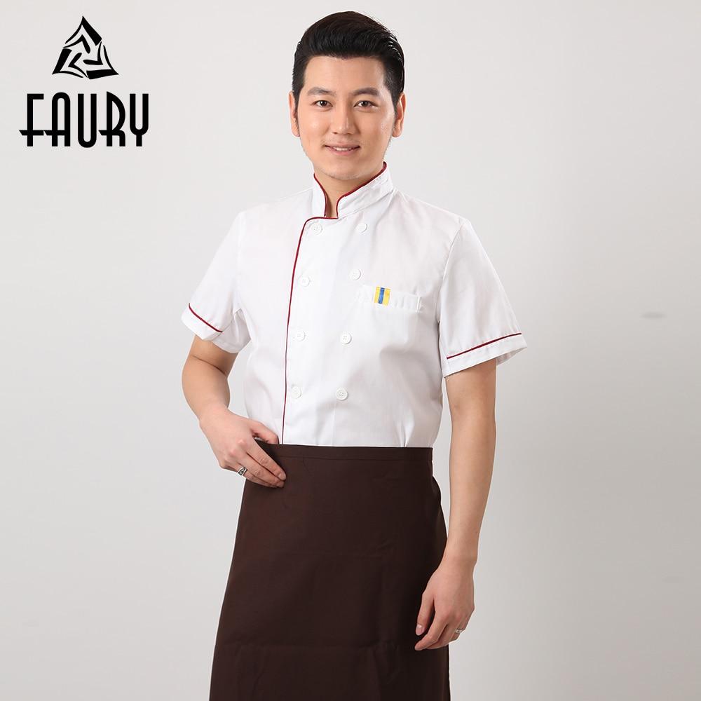 Men White Chef Coats Restaurant Cooking Work Summer Short Sleeve Tops Kitchen Cooking Work Uniforms Hotel T-shirts Jackets