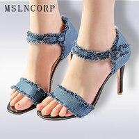 Plus Size 34 47 Summer Sexy Women Pumps Gladiator High Heels Wedding Shoes Femme Denim Sandals