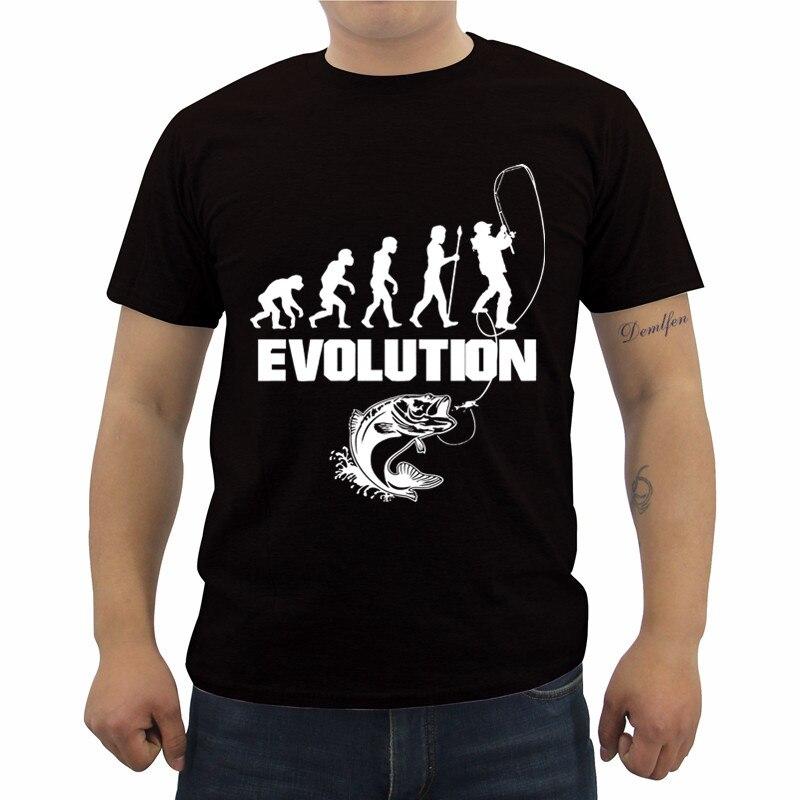 Fishinger Evolution T-Shirt Summer Men's Short Sleeve Cotton T Shirt Casual Male Fitness Shirts Tops Tees Streetwear