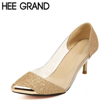 HEE GRAND Women Pumps Shoes High Quality Fashion PU Leather Thin High Heel Pumps Gold Sliver Shoes Woman Size Plus 35-40 XWZ119
