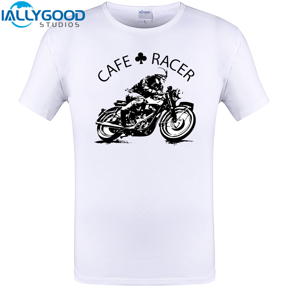 Cafe Racer Vintage Motorcycle Design T-Shirt Summer Short Sleeve T Shirt Novelty Cotton Tops New Arrival Cool Print Plus Size