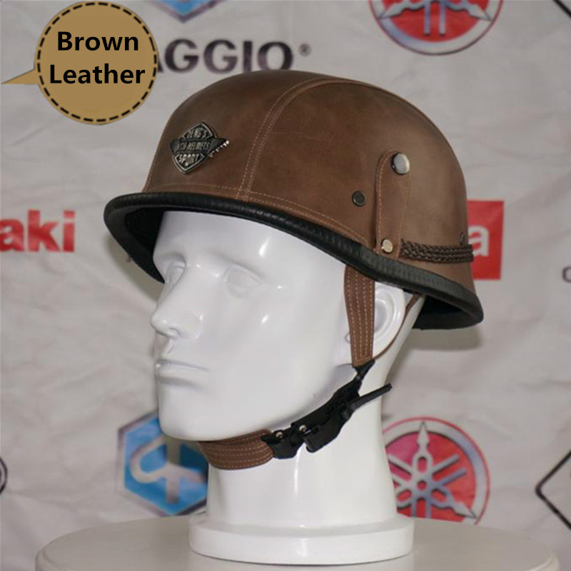 Vintage Harley Brown Leather Motorcycle Helmet Retro Motorbike Half Face Helmet Casco Capacete Casque Moto With Goggles skull motorcycle helmet capacetes casco novelty retro casque motorbike half face helmet motorcycle helmet for harley dot approve