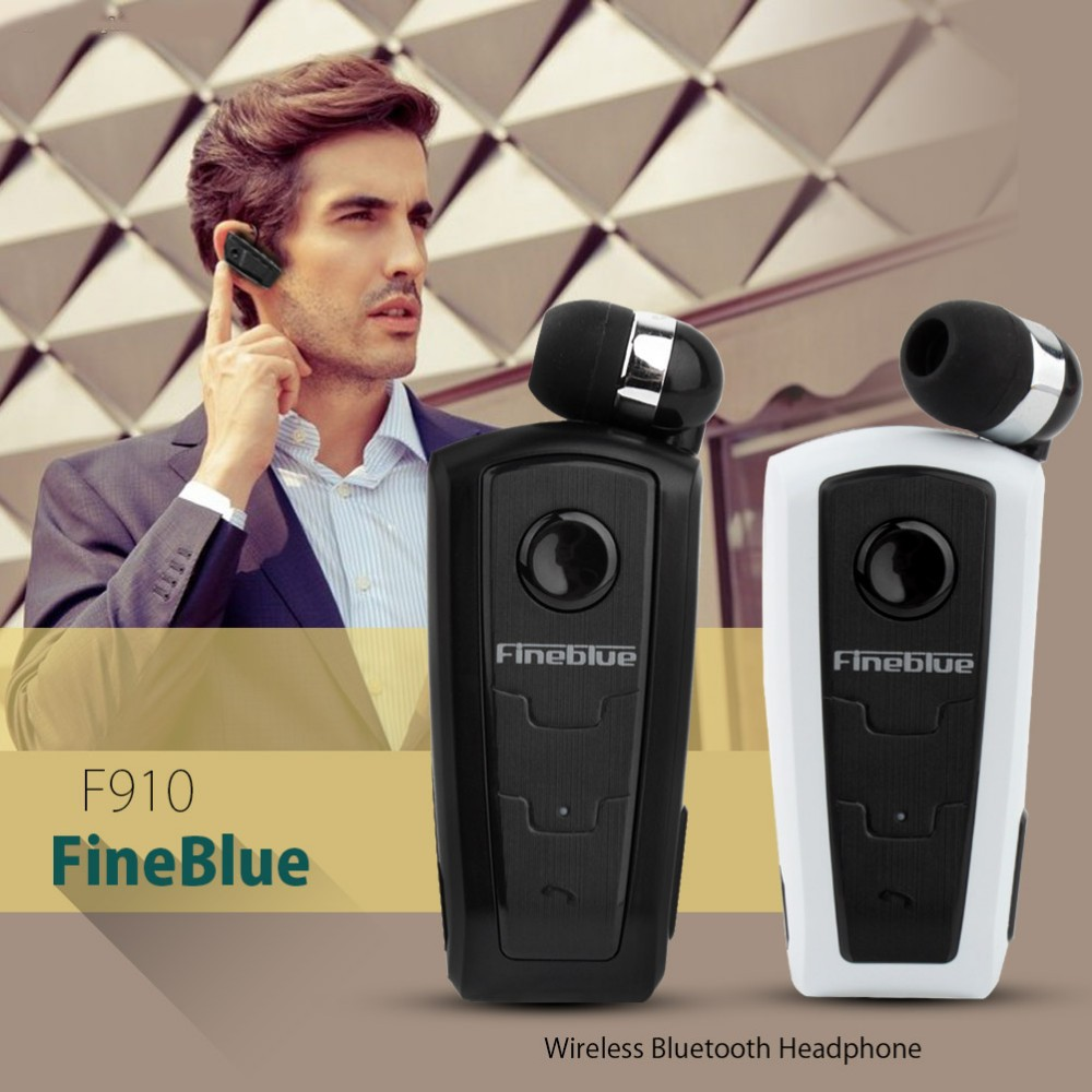 FineBlue F910 Wireless Bluetooth Earphone Auriculares Retractable Remind Vibration Alert Wear Clip Hands Free Driver Earphones 3
