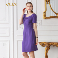 VOA 2018 Spring Summer New Purple Heavy Silk High Waist Pencil Dress Office Lady Puff Sleeve Plus Size Women Midi Dress A2079