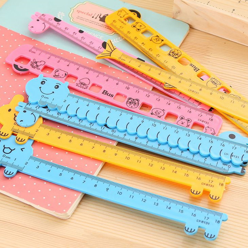 Coloffice Cute Candy Color Animals Cartoon Ruler 15cm Student Stationery Scale Straight Ruler Kawaii Office School Supplies