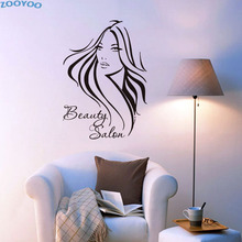 ZOOYOO Hair Beauty Salon Barbershop Sexy Girl Wall Stickers Removable Vinyl Art Decals Home Decor Long Hair Woman Home Decal