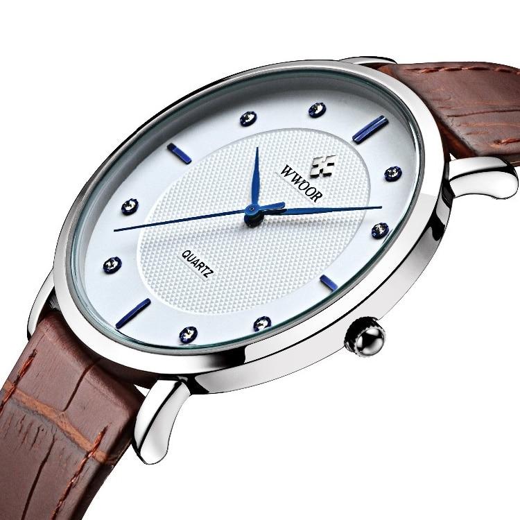 Super Slim Quartz Casual Wristwatch Business JAPAN WWOOR Brand Genuine Leather Analog Sports Watch Men's 2015 Relogio Masculino