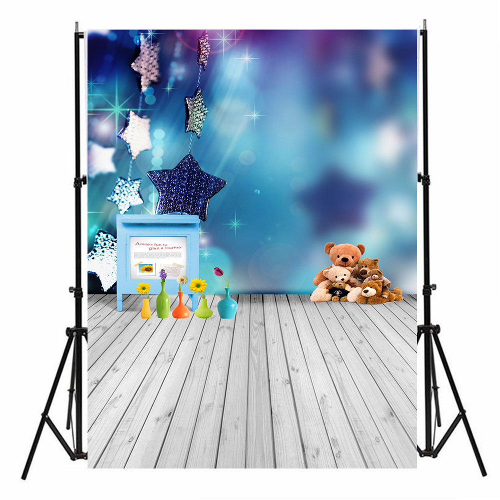 Photo Studio Photography Backdrop Product Photography Wooden Floor Bears Stars Home Decoration Portable Studio Background