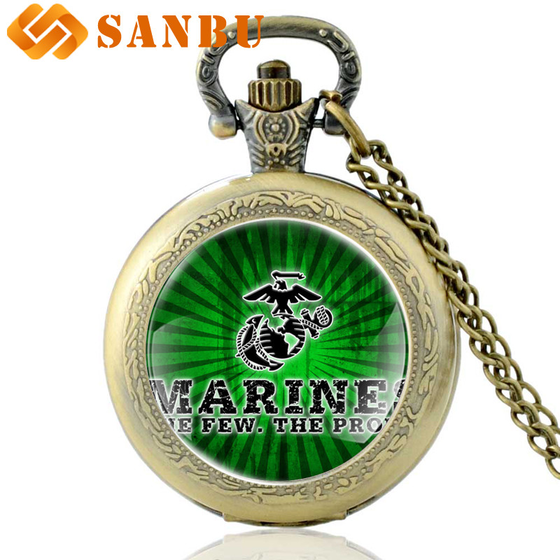 New Arrivals  Bronze United States Marine Corps-US Quartz Pocket Watch Retro Men Women Green Army Pendant Necklace Clock Gift
