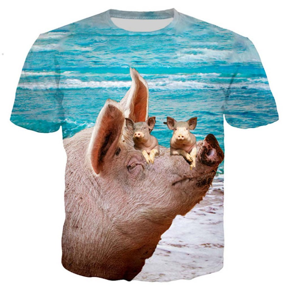 Pig Newest Popular Novelty Animal Dog Cow Series T Shirt Men Women 3D Print Harajuku Style T Shirt Summer Tops