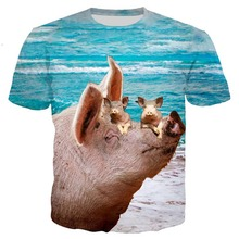 Pig Newest popular Novelty animal dog cow series t shirt men women 3D print harajuku style summer tops