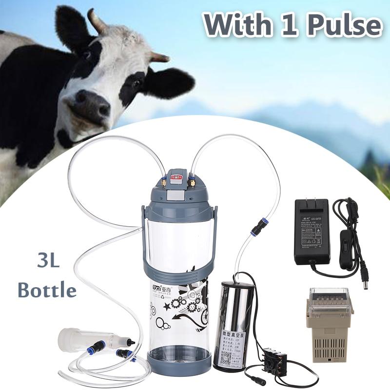 3L Single Head Electric Impulse Milk Milking Machine Portable Cow Sheep Goat Milker Portable 110V-220V 0.8 Gal Vacuum Pump