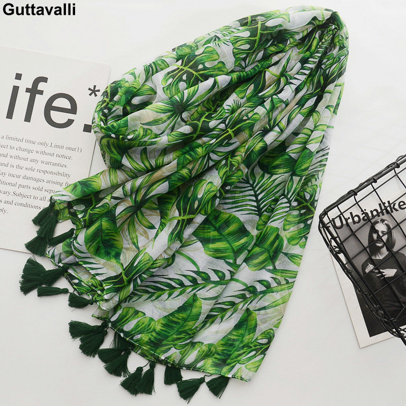 Guttavalli Women Spring Fresh Green Monstera Big Leaf Tassels Long Shawl Female Flowers Print Wraps Chevron Sunscreen Scarves