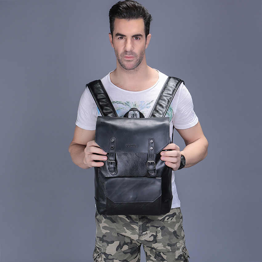 Vormor simples grande capacidade mochila de couro para viagens escritório homens mochila moda saco escolar preto/marrom/café