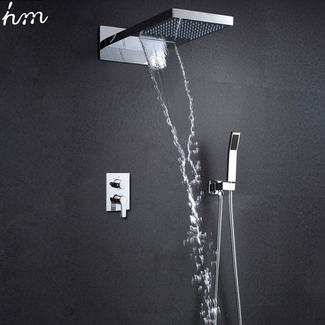 Bathroom Shower Set Wall Mounted Shower Head Set Rain Douche Waterfall Showers  Massage Shower Panel Modern