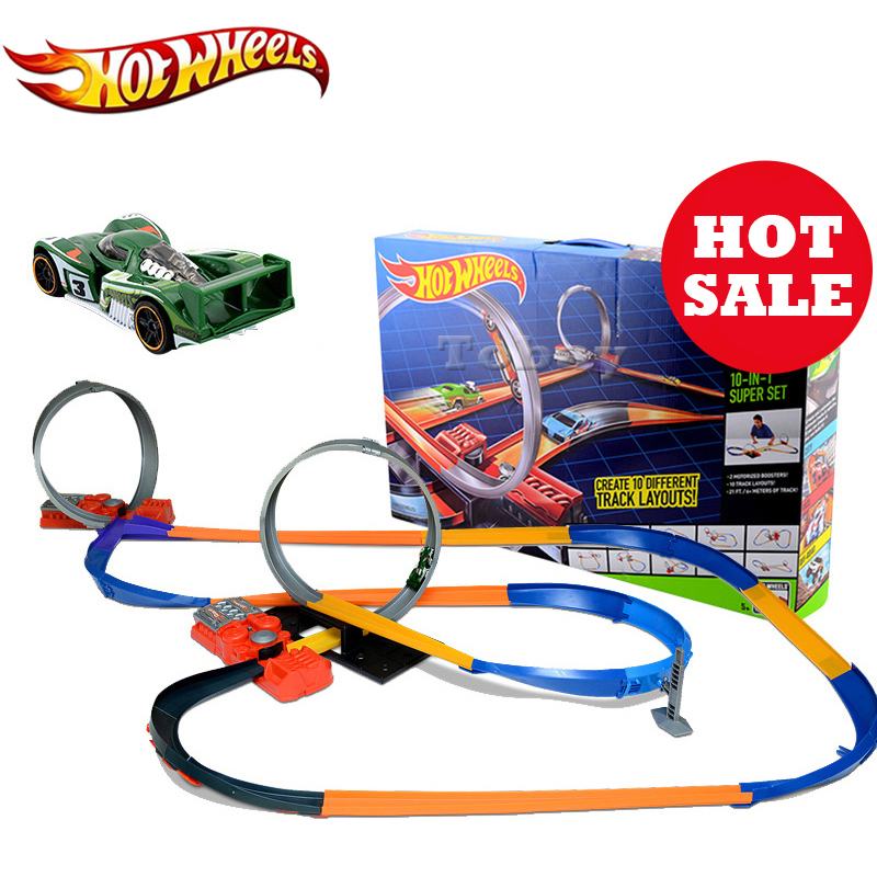 Hot Wheels Sport Cars Track 10 In 1 Suit brinquedo Educativo Car Track Plastic Matel Hotwheels Track Set Model Y0267 Car Toy hot wheels sport car toy plastic track vehicles kid toys hot sale hotwheels cars track x2586 multifunctional classic boy toy car