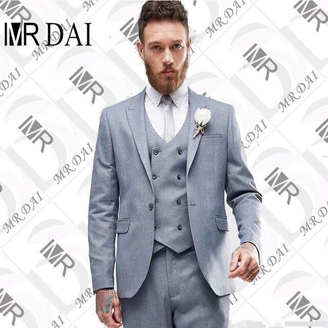 MD-015 (veste + Pantalon + Gilet) 2018 dernière Gris Hommes Costume Slim aaa01f80e6e