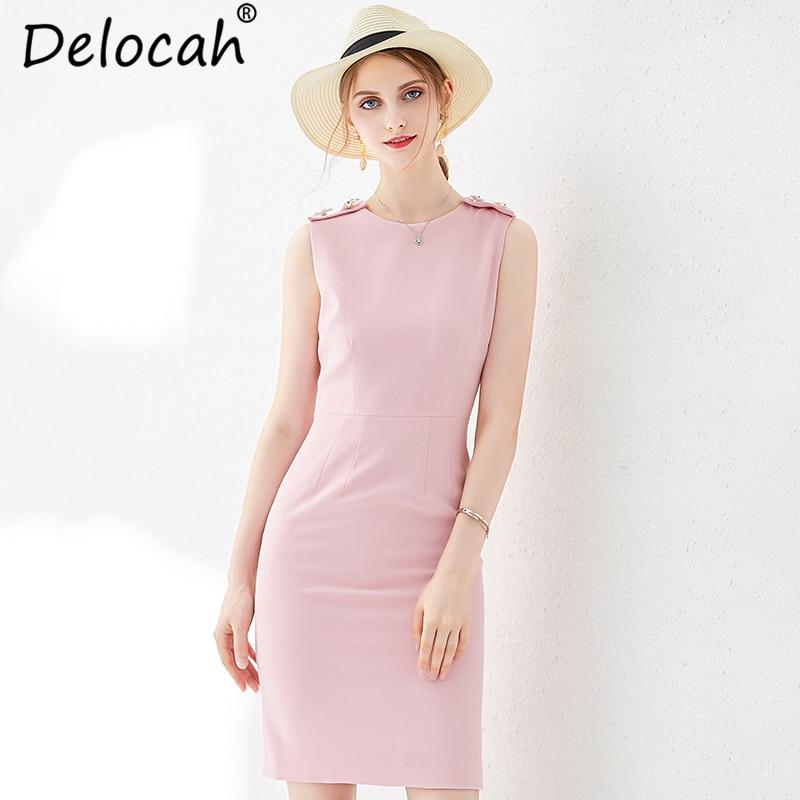 Delocah femmes été rose mince robe piste mode sans manches recueillir taille élégante décontracté célébrité fête Midi robes 2019