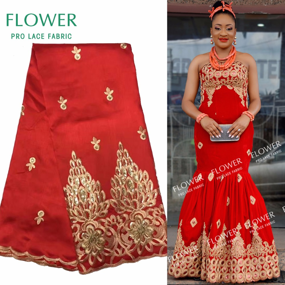 African George Lace Indian Design Red For Nigerian Wedding Dress Tissu Sequined Gold Line Embroidered Guipure