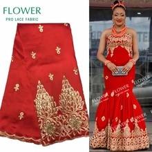 Африканский Джордж кружева индийский дизайн красный для нигерийского свадебного платья Tissu блестками золотая линия вышитые гипюровые кружева шелковые ткани