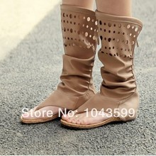 Long summer cool boot brand counter hollow out flat fish mouth boots boots mesh single women's shoes