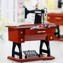 Classic Jewelry Box Musical Box Sewing Machine Music Box Birthday Christmas Gift Home Decor Miniature Craft Musical Boxes
