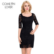 Comeonlover 2017 New stretchy women lace dress autumn summer floral party dresses short half sleeve big large size dress VL1046(China)