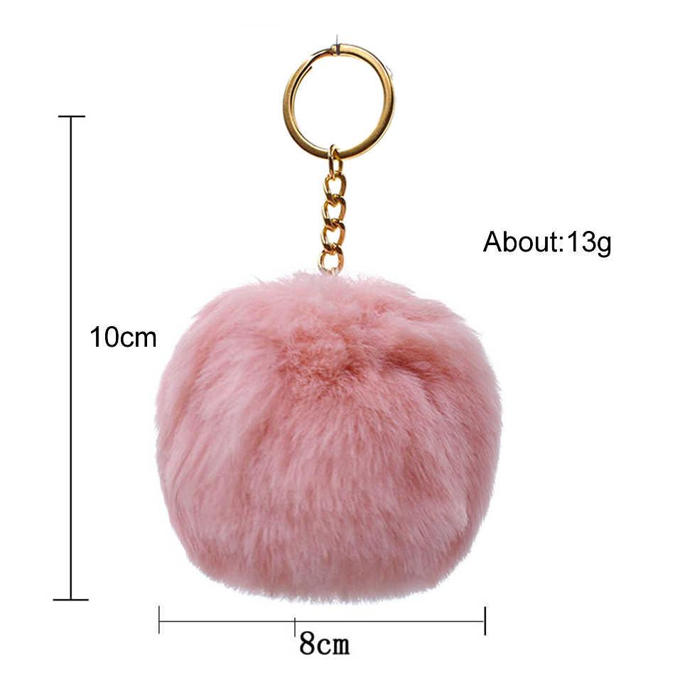 Simples chaveiro de pele bola pompom pompom pele de coelho artificial animal chaveiros para a mulher saco de carro chaveiro 13 cores