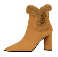 Sexy Women Winter High Heels Ankle Boots Shoes Fall Ladies Short Snow Boots Suede Black Camel