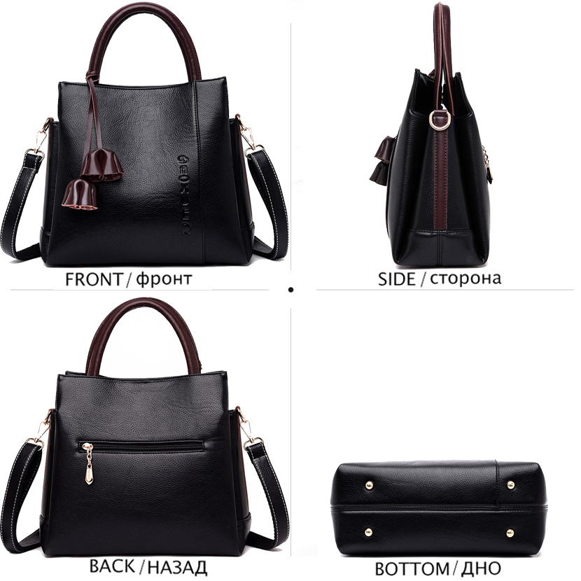 Fashion Tassel Ladies Hand Bag Luxury Handbags Women Bags Designer Brand Leather Messenger Crossbody Bags for Women Sac A Main in Top Handle Bags from Luggage Bags