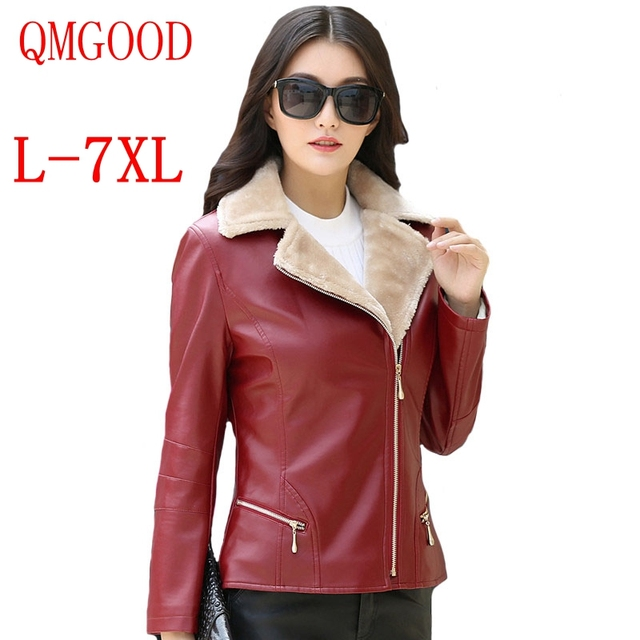 0c37211d950 QMGOOD L-7XL Plus Sizes Womens Winter Leather Jacket Fur Lined Slim PU Jackets  Coat Female Moto Jacket Large Leather Outerwear