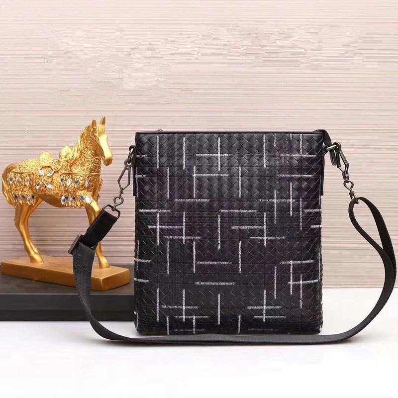 Kaisiludi leather woven men s bag single shoulder bag men s oblique bag leather embroidery vertical