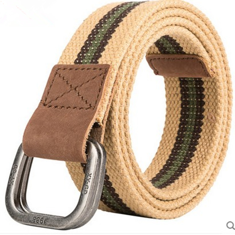 Free shipping Hot-selling genuine leather cloth strap double-ring buckle male casual knitted jeans canvas   belt   2017