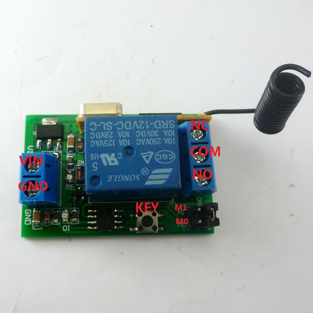 433m Dc 12v One Channel Rf Wireless Controller Relay Switch With Latch Circuit Delay Momentary Toggle Functions For Ev1527 Pt2262 Ask In Integrated Circuits From