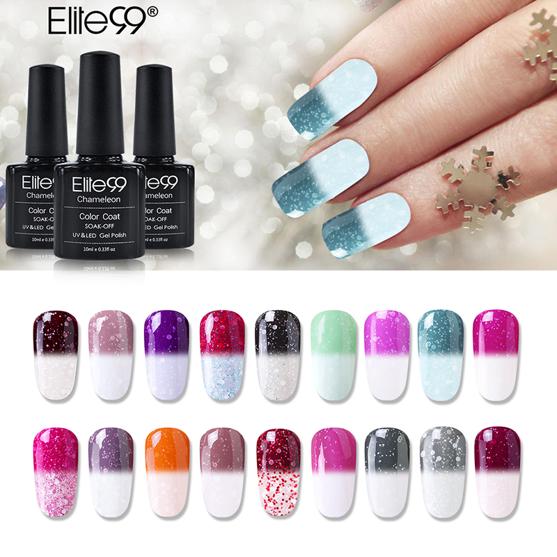 Color Changing Gel Nail Polish: Elite99 Snowy Thermal Temperature Color Changing UV Gel