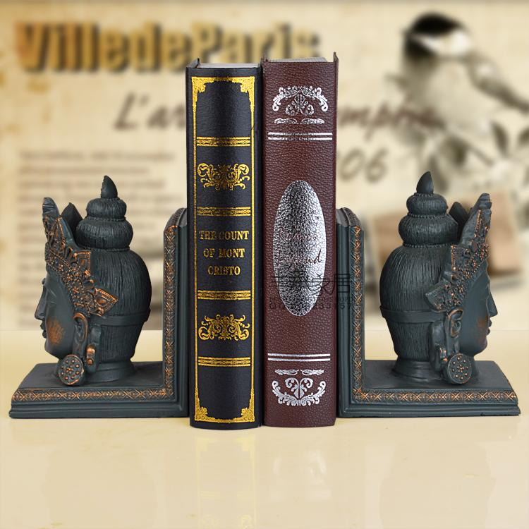 ФОТО Home fashion nostalgic vintage resin bookend book end antique buddha head bookend accessories
