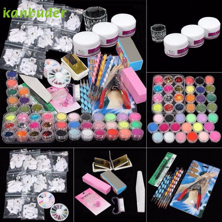 Cosmetic Dairy 37 in 1 Professional Manicure Set Acrylic Glitter Powder French Nail Art Decor Tips Set 2017 o13 Free Shipping