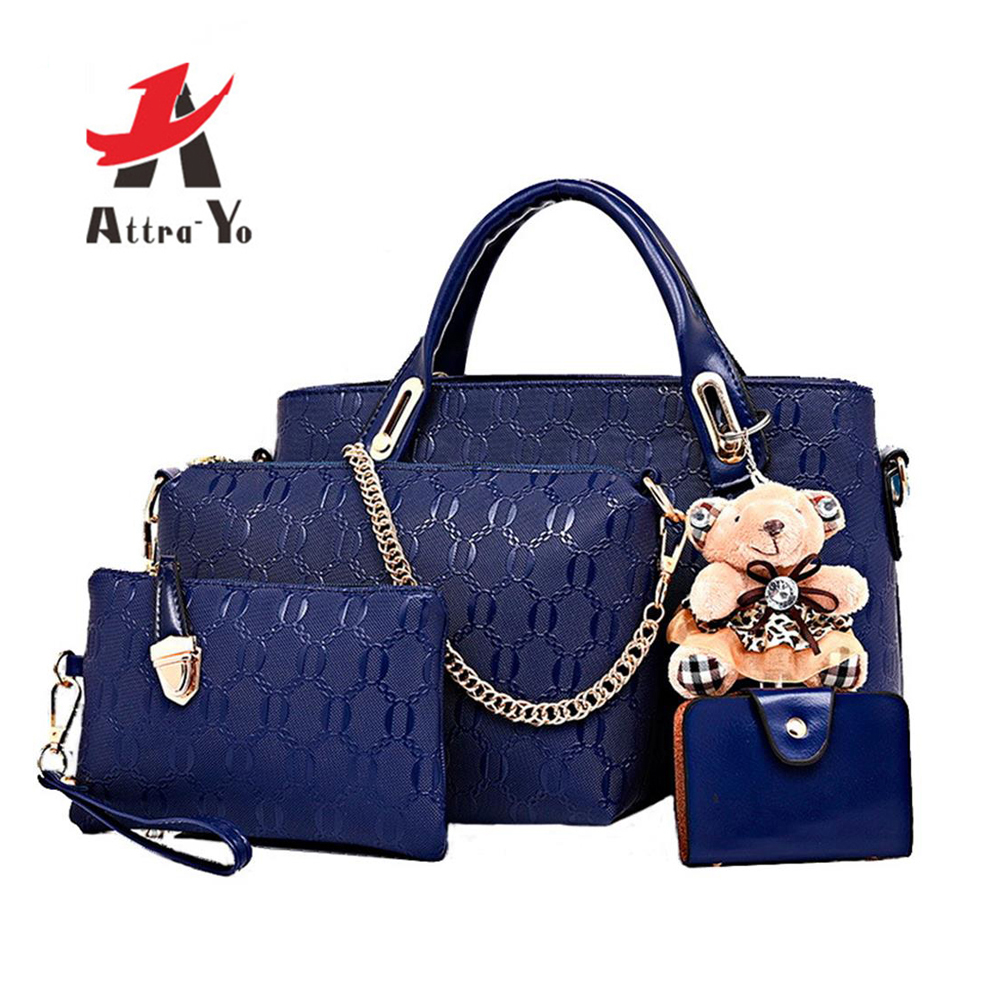 ATTRA-YO Women Bag Handbag Composite-Bag Messenger-Bags Female Girls Famous-Brand 4set